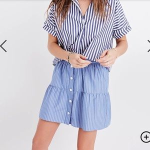 Madewell Bistro Mini Button Skirt in Stripe Blue